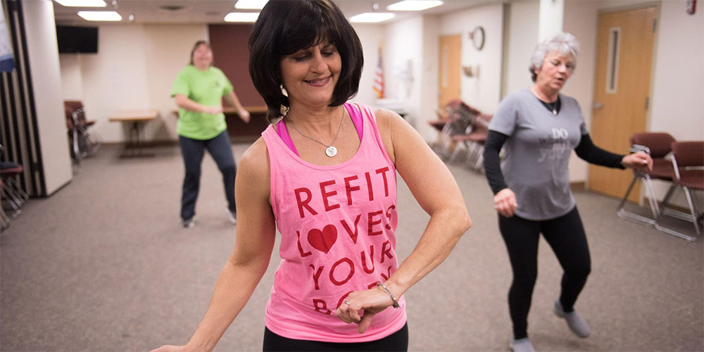 Dana Overturf leads an exercise class at the Ottumwa Regional Health Center.